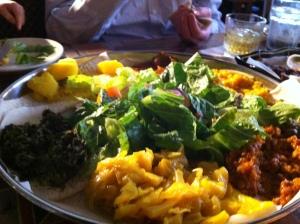 Our big platter of Ethiopian food